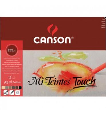 Bloco de Papel Canson Para Pastel Mi-Teintes Touch 355g/m² A3