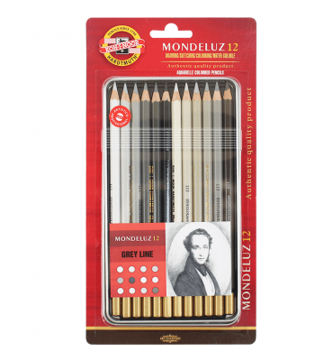 Lápis Aquarelável Koh-I-Noor Mondeluz 12 cores Tons de Cinza