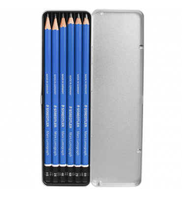 Estojo Lápis de Desenho Staedtler com 6 Lumograph 100G6
