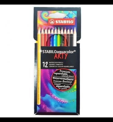 Lápis de Cor Aquarelável Aquacolor Stabilo Arty 12 Cores