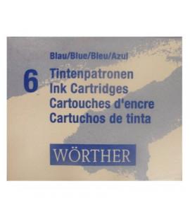 Cartucho de Tinta Para Caneta Tinteiro Worther Azul