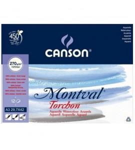 Papel Para Aquarela Canson Montval Torchon A3 270g/m²