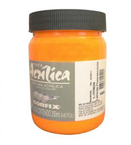 Tinta Acrílica Fluorescente Corfix 250ml 1009 Laranja