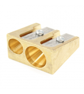 Apontador de Lápis Metal Dourado Clássico 0603 – 02 Orifícios