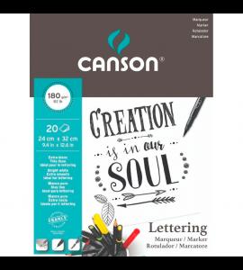 Bloco de Papel Lettering Canson Marker A4 180g/m² 20 Folhas