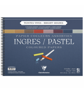Bloco Papel Clairefontaine Ingres Para Pastel 30x40cm Cores Vivas