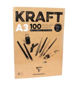 Bloco de Papel Kraft Clairefontaine A3 100 Folhas