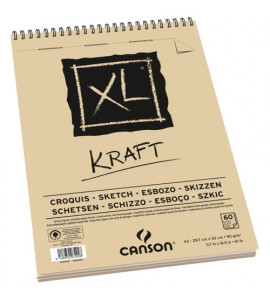 Bloco de Papel Canson XL Kraft 90g/m² A3