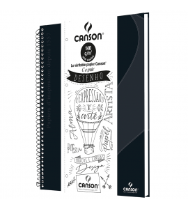 Caderno de Desenho A4 Preta Canson 40 Folhas Universitário