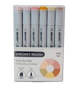 Marcador Artístico Sinoart Marker 06 Cores Tons de Pele
