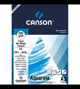 Papel Para Aquarela Canson Mix Media A3 300g/m²