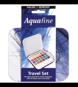 Estojo Aquarela Pastilha Daler Rowney Aquafine 24 Cores + Pincel
