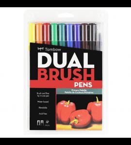 Caneta Dual Brush Pincel Tombow 10 Cores Primarias