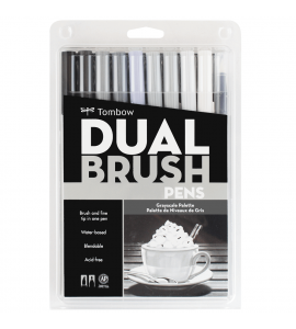 Caneta Dual Brush Pincel Tombow 10 Cores Cinzas