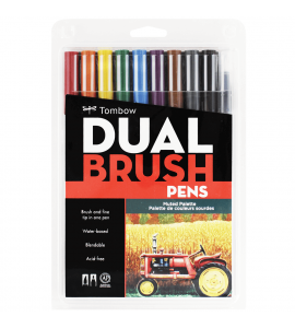 Caneta Dual Brush Pincel Tombow 10 Cores Suaves