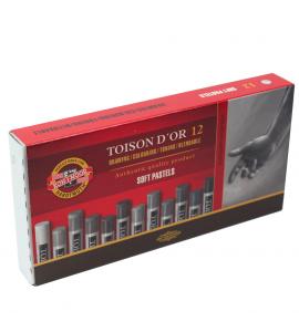 Pastel Seco Toison D'or Soft 12 Cores Giz Tons Cinza
