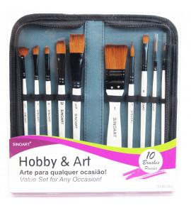 Kit de Pincel Sinoart Hobby & Art 10 Pincéis