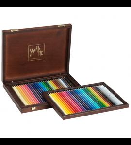 Estojo De Desenho Caran D' Ache Luxo 60 Lápis Caixa Madeira