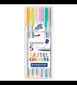 Estojo De Desenho Caneta Triplus Fineliner Staedtler 06 Cores Pastel