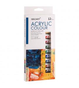 Tinta Acrilica Sinoart 12 cores Tubo 12ml