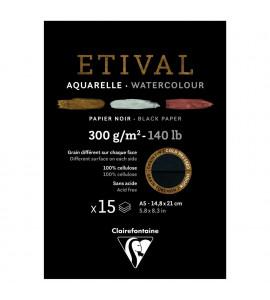 Bloco Para Aquarela Etival Papel Preto A5 300g