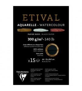 Bloco Para Aquarela Etival Papel Preto A4 300g