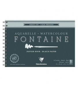 Bloco Papel Para Aquarela Fontaine Preto 300g/m² 12x18cm