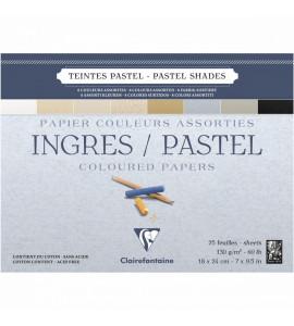 Bloco Papel Clairefontaine Ingres Para Pastel 18x24cm Cores