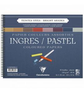 Bloco Papel Clairefontaine Ingres Para Pastel 24x30cm Cores Vivas