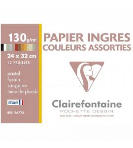 Pochette Papel Ingres Para Pastel 24x32cm 12 Folhas Coloridas