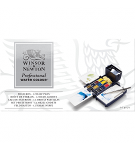 Tinta Aquarela Pastilha Winsor & Newton Profissional Field Box 12 Cores