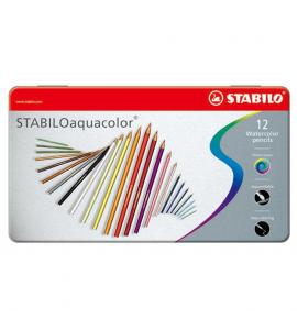 Lápis de Cor Aquarelável Aquacolor Stabilo 12 Cores