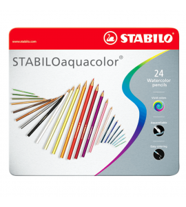 Lápis de Cor Aquarelável Aquacolor Stabilo 24 Cores