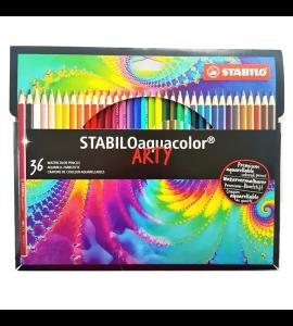Lápis de Cor Aquarelável Aquacolor Stabilo Arty 36 Cores