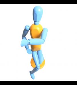 Boneco Articulado Para Desenho 30cm Color Azul e Amarelo