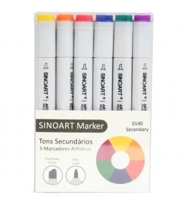 Marcador Artístico Sinoart Marker 06 Cores Tons Secundários