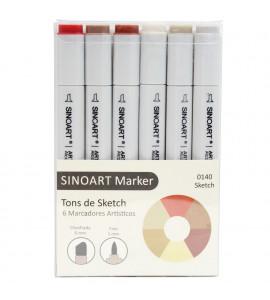Marcador Artístico Sinoart Marker 06 Cores Tons Sketch