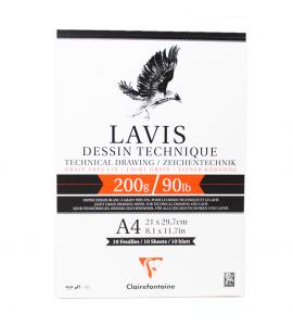 Bloco de Papel Para Desenho Técnico LAVIS A4 200g 10 folhas