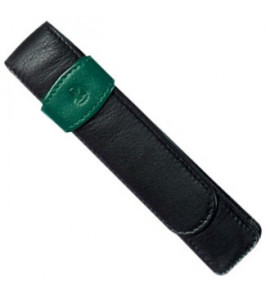 Porta Canetas de Couro Para 01 Caneta Preto/Verde