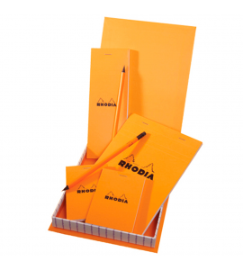 Kit de Bloco de Notas Papel The Essential Box Rhodia Orange
