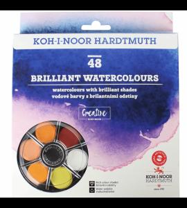 Tinta Aquarela em Pastilha Koh-I-Noor 48 Cores Brilhantes