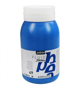 Tinta Acrílica Para Tela Pébéo 1000ml 49 Azul Cyan