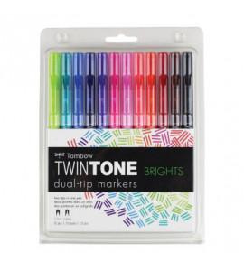 Marcadores Twintone Tombow 12 Cores Vibrantes