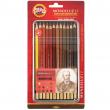 Lápis Aquarelável Koh-I-Noor Mondeluz 12 cores Tons de Marrom