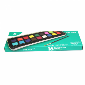Tinta Aquarela em Pastilha com 18 Cores Sinoart