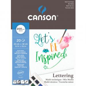 Bloco de Papel Lettering Canson Mix Media A4 200g/m² 20 Folhas
